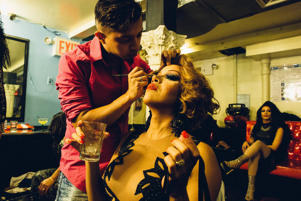 Jennifer St Cartier gets her makeup done before taking the stage at Club Evolution, a popular gay club that caters to the Latin community in Jackson Heights. Jennifer was there that night to perform a tribute to her recently deceased friend, Jessenia Paparazzi  . Queens, New York.