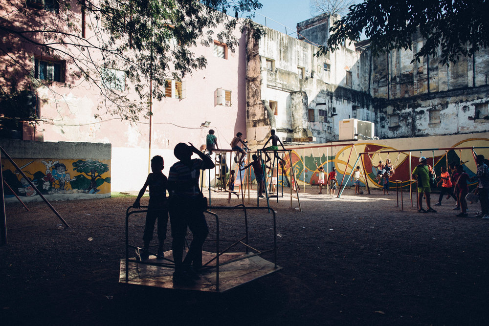 Kids play at playground on Calle San Rafael. Havana, Cuba.
