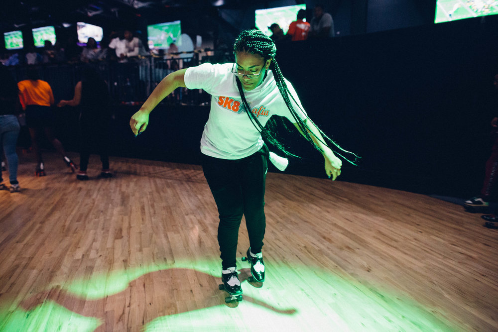 Mia Lopez of Sk8 Mafia skates during College Night at World on Wheels. Los Angeles, California.