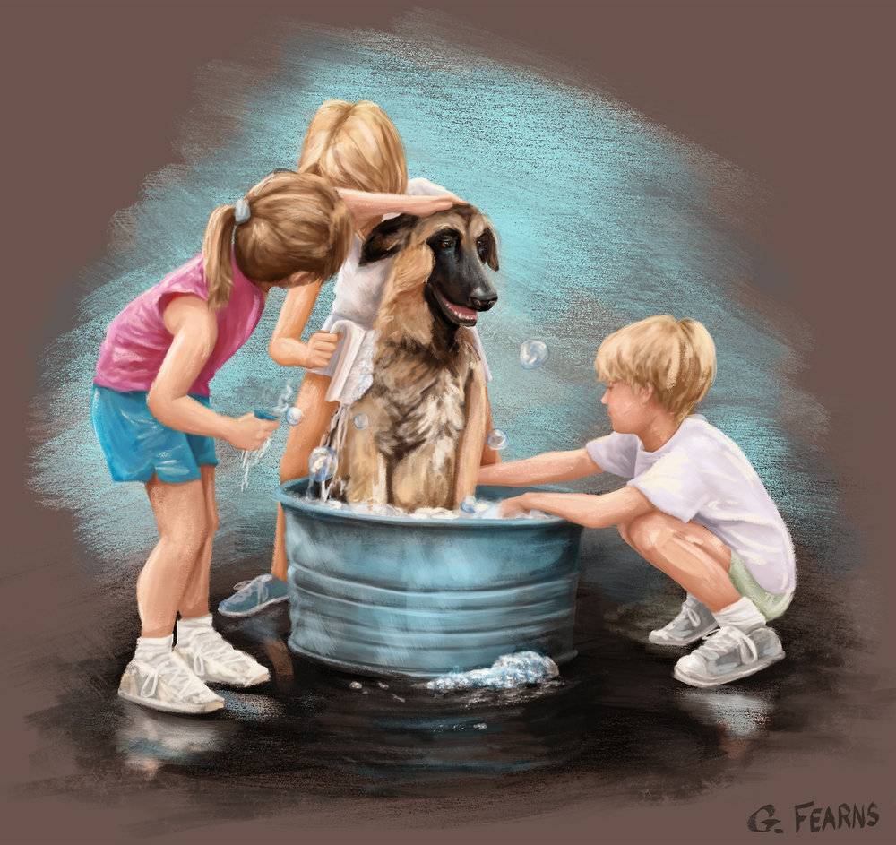Based on an old photo of Eileen and her sister's giving their dog a bath in the driveway.