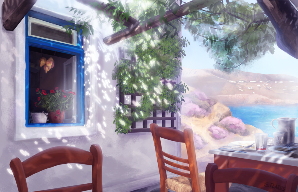 Over the past couple years I've been lucky enough to travel to some amazing places and I decided to start doing some paintings of my favorites. Hopefully having this blog will give me some motivation to keep making them   This is of a restaurant called Kiki's Tavern on the island of Mykonos in Greece. We spent the day on Agios Sostis Beach, right next to it, and then wandered up a path to eat lunch. There's no sign, but you can recognize Kiki's by the tree's growing through the center and covering it. With no electricity/phone they don't take reservations, but they make up for any wait by giving you free wine until a table's ready. It was the best Grilled Chicken I've ever had served with a baked potato wrapped in tin foil, all cooked on a wood fired grill. It was simple and one of the most beautiful and memorable places I'll ever go to.