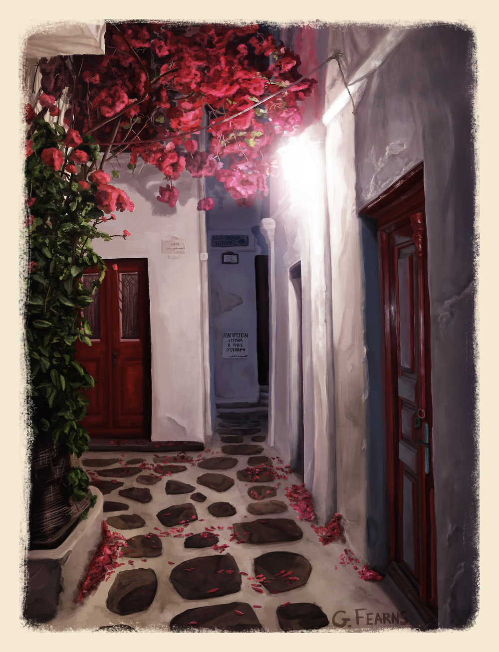 Painted one of my favorite little streets that we found when we were wandering around downtown Mykonos.