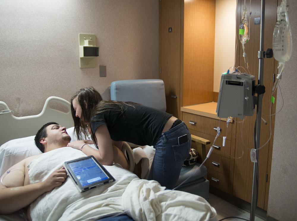 Brandie, 18, visits her boyfriend at Summa Akron City Hospital after he develops an abscess from shooting up. Brandie and her boyfriend walk through addiction together.
