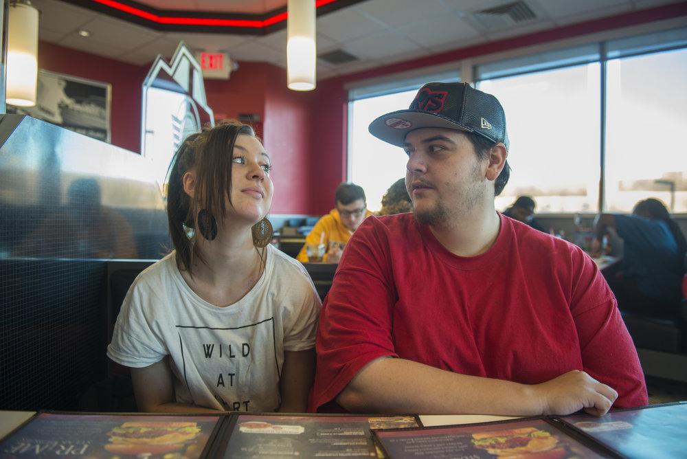 Brandie and her boyfriend eat lunch at Steak and Shake.