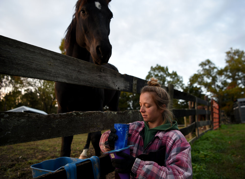 Katie Salyer, 27, begins each morning by feeding the horses and mucking their stalls at the horse farm she and her husband, Hershall, own in Morehead, Kentucky on October 25, 2017. Katie manages the stable during the day while her husband works as an electrician (Keown | Mountain Workshops).