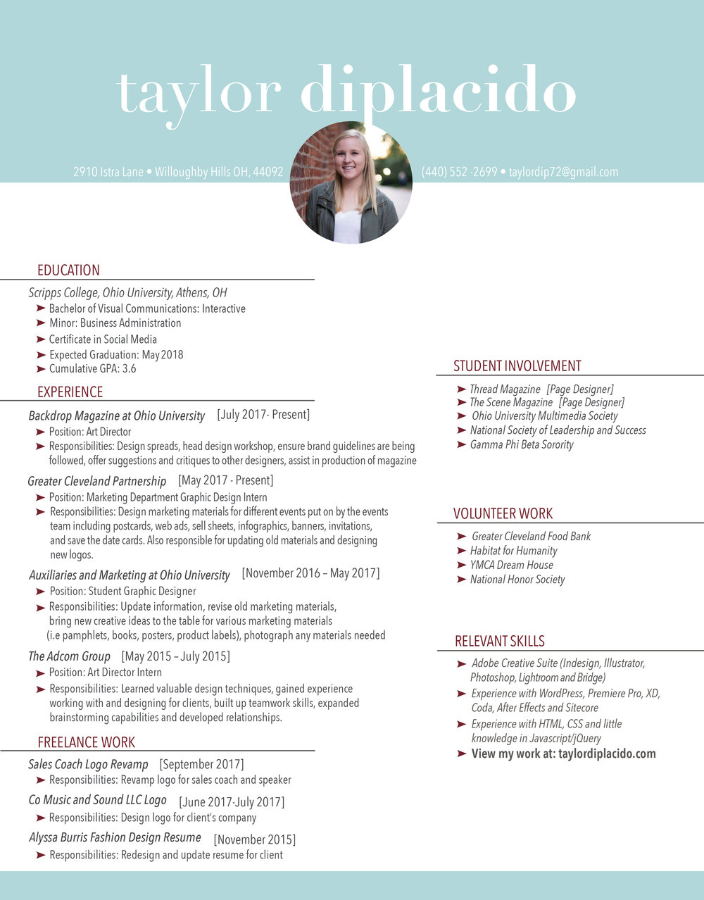 Here is my resume. - Click the button below for a bigger version of my resume.
