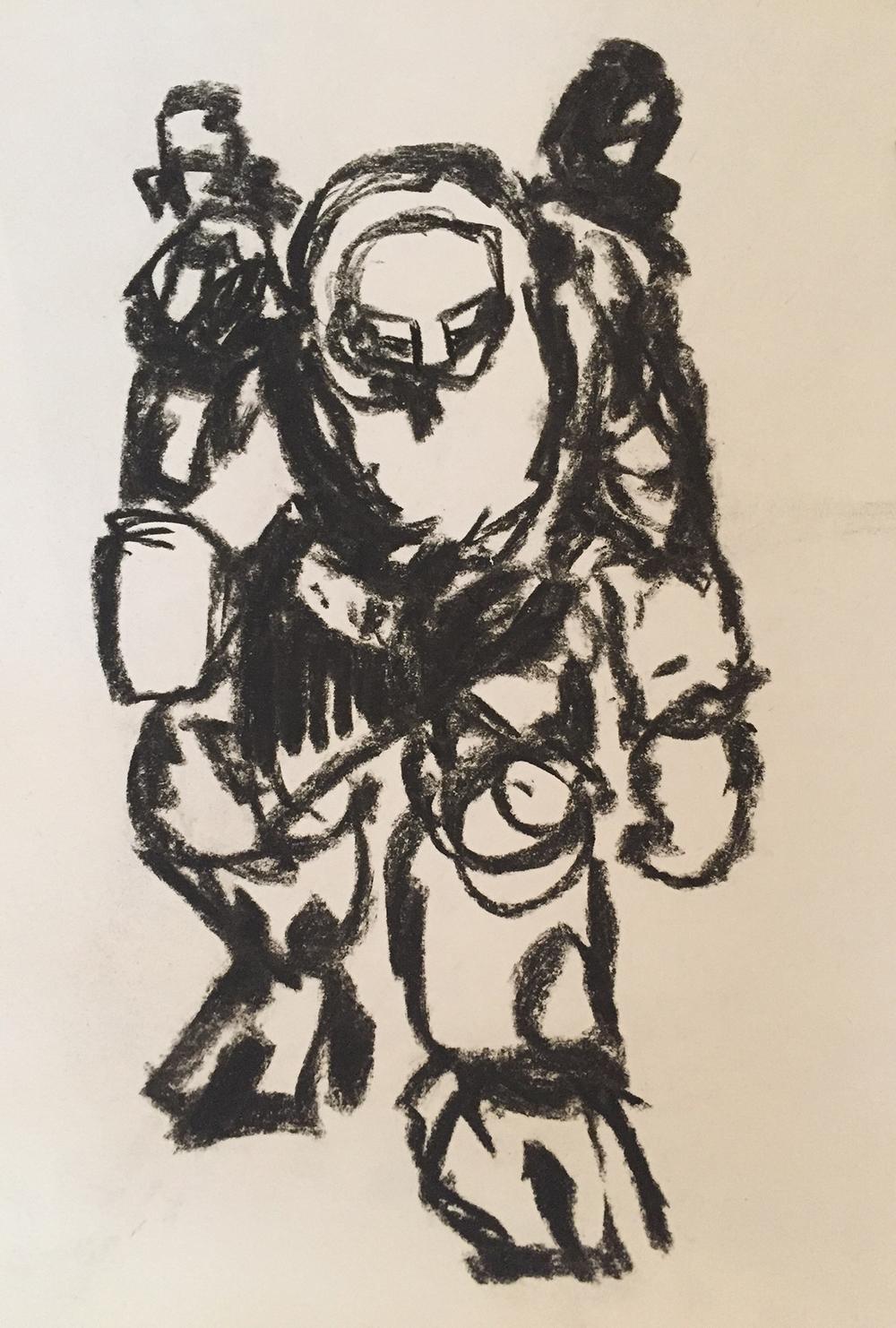 Golem, charcoal on paper
