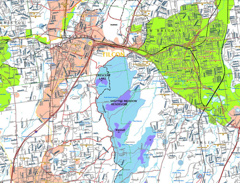 New Britain watershed + water quality map. Light blue shows groundwater that feeds a reservoir or ground water suitable for drinking without treatment. Why are we removing land that generates clean drinking water for New Britain?  Source: DEEP, November 2015