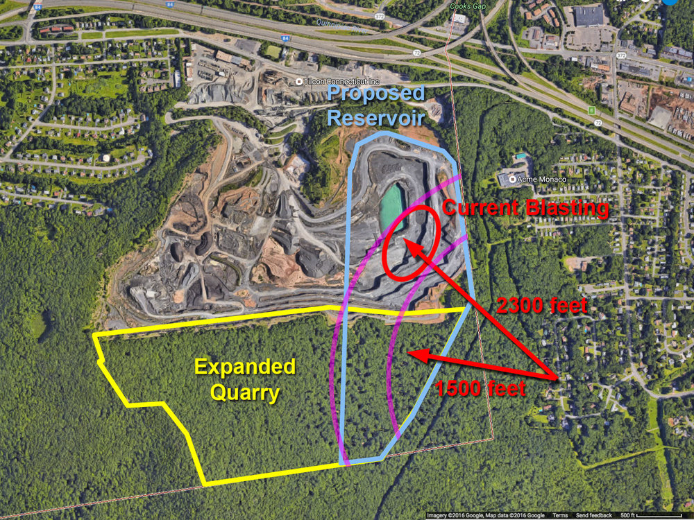 Blasting will get closer to Hickory Hill Road long term if the quarry is expanded.