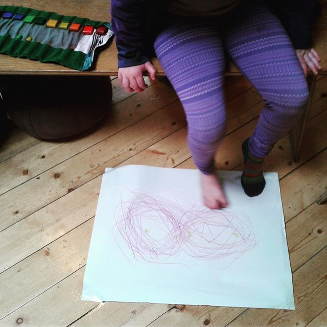 Form drawing with our toes. #secondgrade #allthesenses #waldforf #portlandoregon #infinity #formdrawing