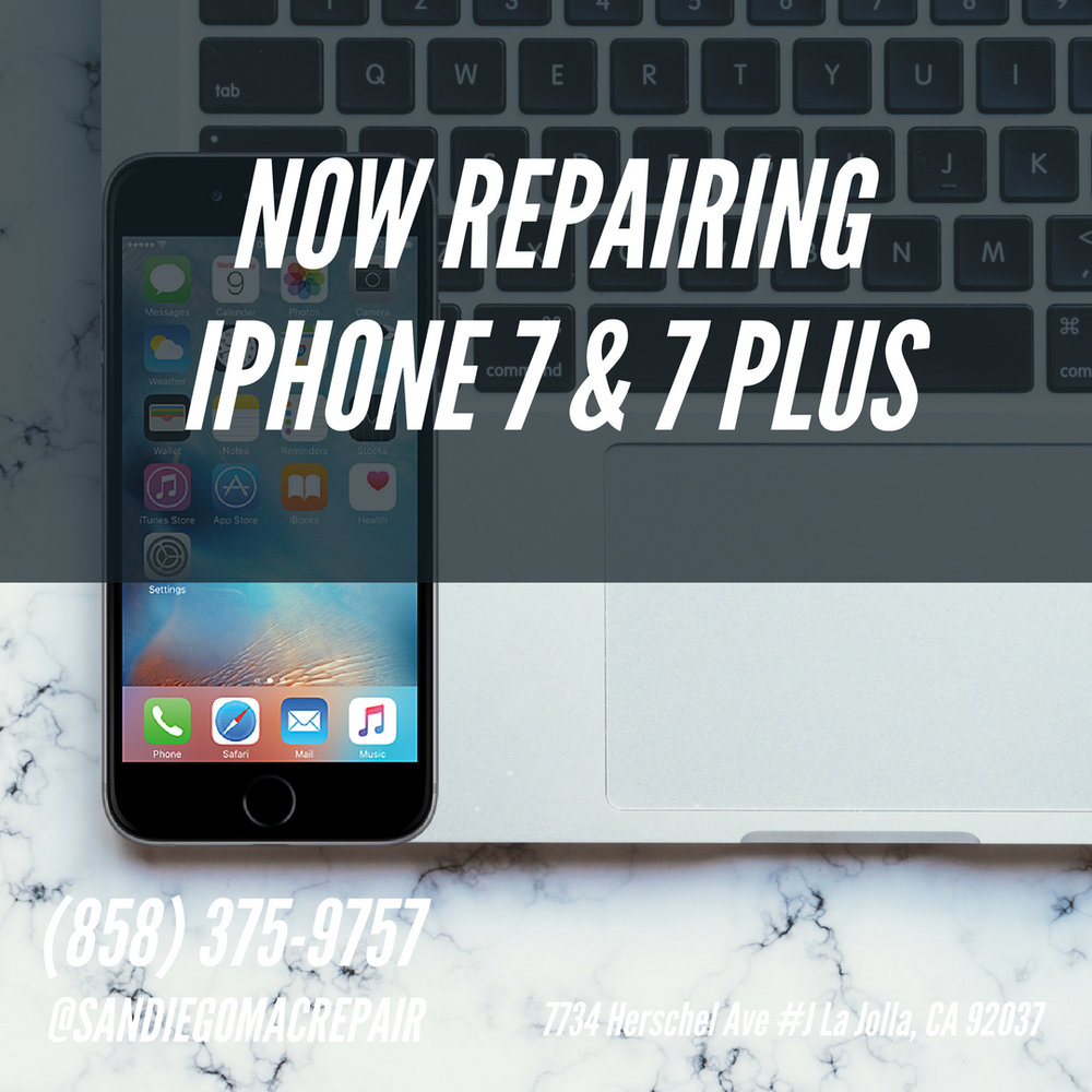 San Diego Mac Repair now offers iPhone 7 and 7 Plus cracked screen repairs at its la jolla ,ca location. get a same day shattered broken glass repaired at San Diego Mac Repair.