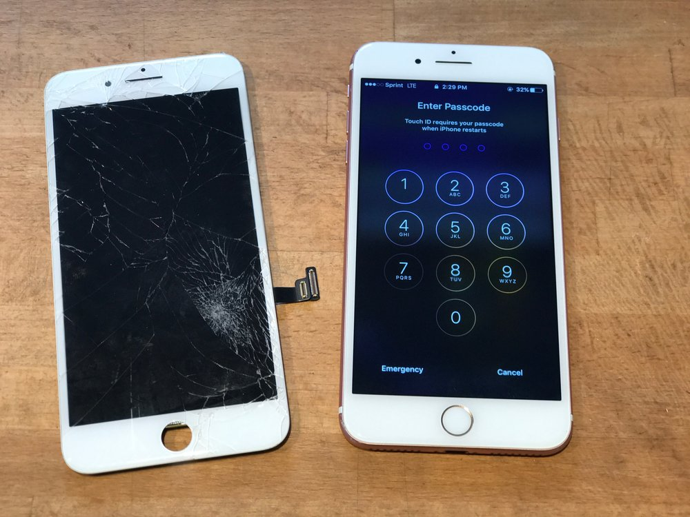 before and after iPhone 7 plus screen repair by San Diego Mac Repair in La Jolla. This iPhone screen repair was done in 15 minutes at our La Jolla location. no appointment required for iPhone screen repairs open at 7734 Herschel Avenue #J La Jolla, CA 92037