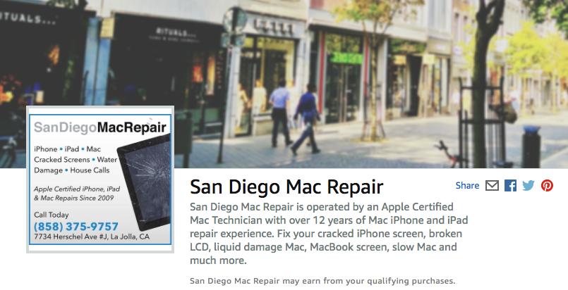 San Diego Mac Repair recommendations through amazon.com iPhone iPad Mac repair liquid damage MacBook screen slow Mac and more.