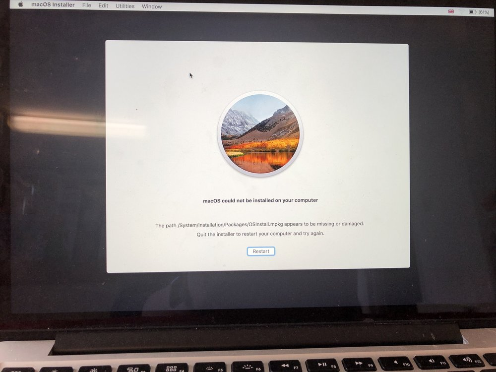 Mac stuck on apple logo Mac OS could not be installed on your computer high Sierra error. San Diego Mac repair