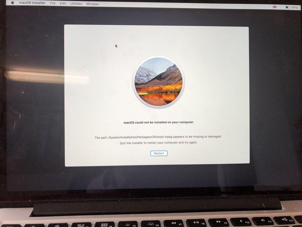 Mac stuck on apple logo Mac OS could not be installed on your computer high Sierra error. San Diego Mac repair