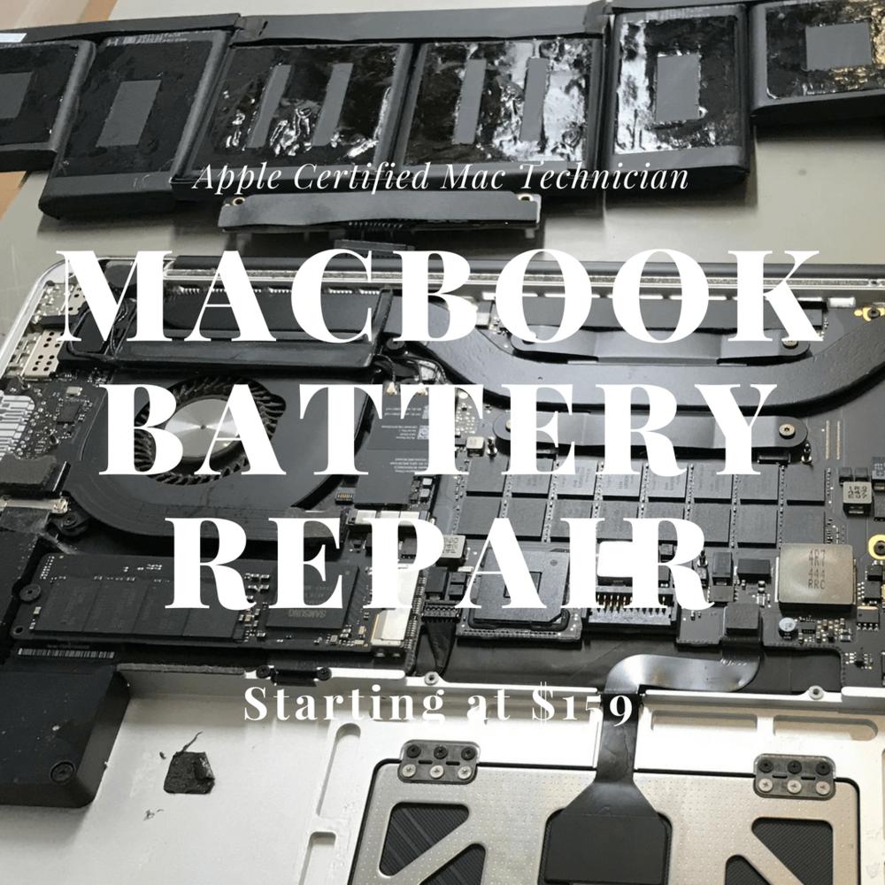 MacBook Pro retina battery repair and replacement in San Diego by San Diego Mac Repair - iPhone iPad Mac Repair in La Jolla. Apple certified Mac technician since 2009 serving San Diego.
