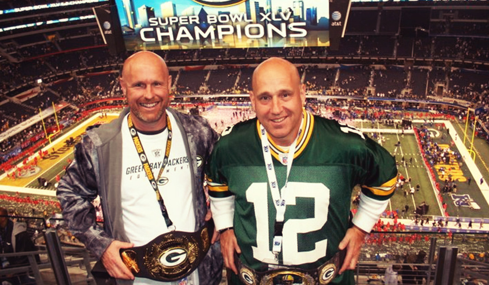 Craig Brzezinski (right) and his brother Cary at the Super Bowl.