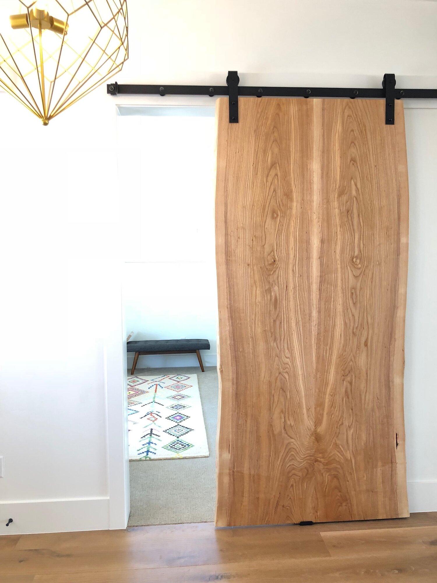 2915bf86e59 Sliding Barn Doors - Live Edge Wood Slabs - Walnut Ash Oak Guanacaste  Monkeypod — Stockton Heritage