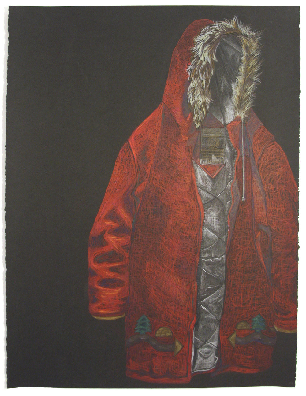 "RED COAT 22"" x 30"" Colour Pencil on Paper 2015 