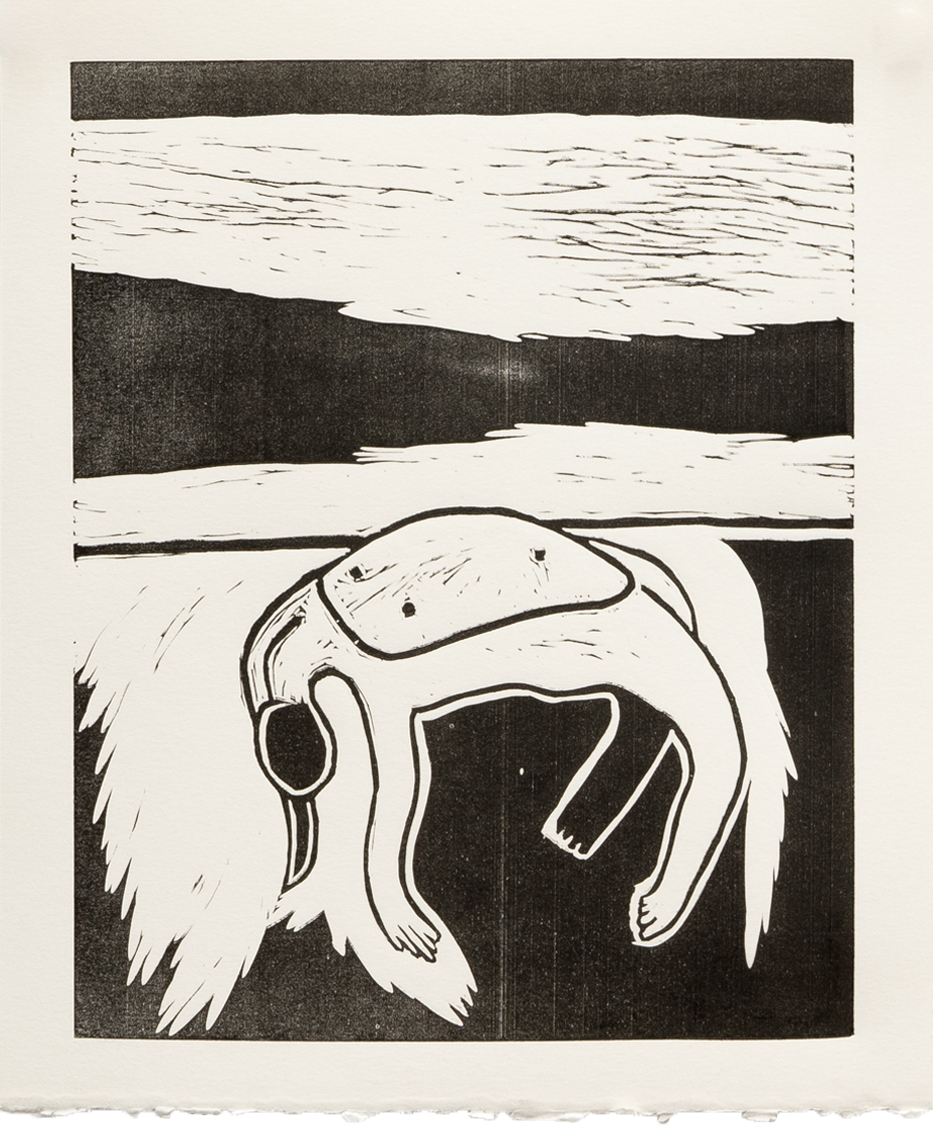 "LAY BARE 9"" x 11"" Lino Print on Paper Unlimited Edition $40.00 