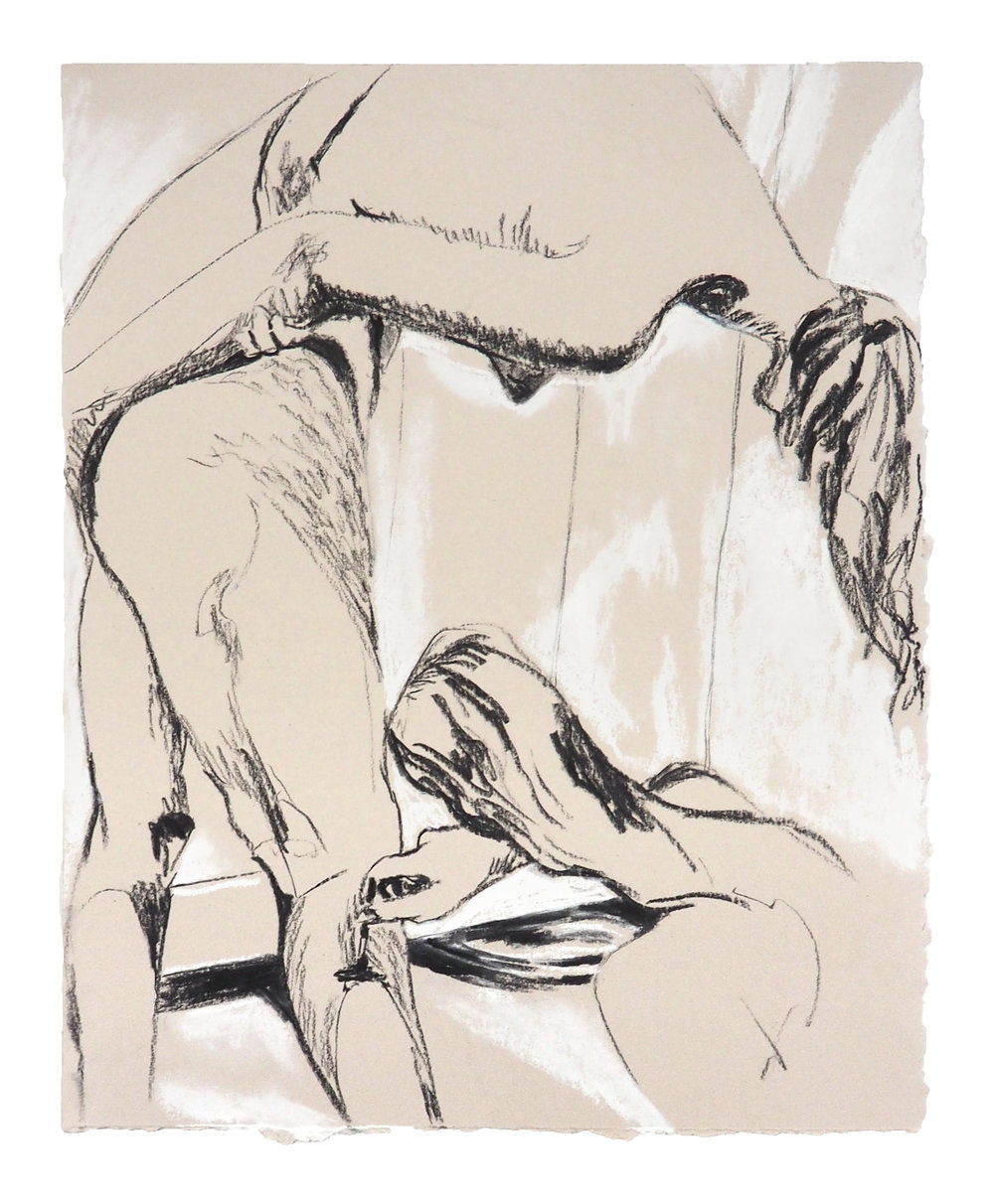 "TENDER GESTURES, RAZOR SHARP 11"" x 13"" Charcoal and Chalk Pastel on Paper $250.00 