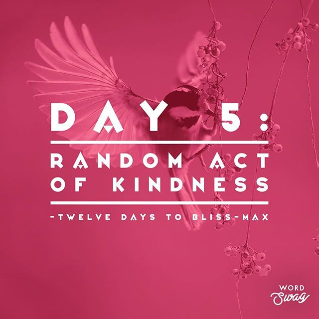 "• Day 5 • 12 DAYS TO BLISS-MAX 🌟🎄🕊 ***NO VIDEO TODAY*** TODAY: Random Act of Kindness 🖤🕊💫 Take some time to consider, who or how you would like to offer a random act of kindness today. 💫 It may be planned ~ It may be spontaneous. 💫 You can fit it into your day to make it easy, or go out of your way to do something extra special. 🕊 Write an anonymous love/inspiration note. 🕊 Offer to buy someone a coffee. 🕊 Donate to the foodbank (you can even just add a dollar to your bill at the till at Safeway). 🕊 Take your neighbour a gift. 🕊 Leave a $5 bill or a Gift Card somewhere random ~ write a small kind note: This is for You, (yes YOU), please enjoy! 🕊 Help someone walk across an icy parking lot... 🤗 Get Creative if you like!!! DAILY: Take some time for a few deep breaths in stillness. Get Centred & Grounded. Conjure up the feeling of Gratitude within your Heart. Try cultivating the feeling of gratitude without even needing specific things to be grateful for ~ go straight for the ""feeling"" and see how you expand & soften.  #12days2blissmax  #yegyoga #yoga #bliss #christmas #mindfulness #stressreduction #raok #randomactsofkindness #gifts #santa #heartfelt #generosity #namaste #allyouneedislove"
