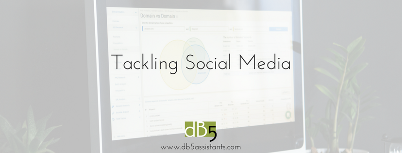 "Done by 5. DB5. Virtual assistants. San Francisco Bay Area. Blog: ""Tackling Social Media."""