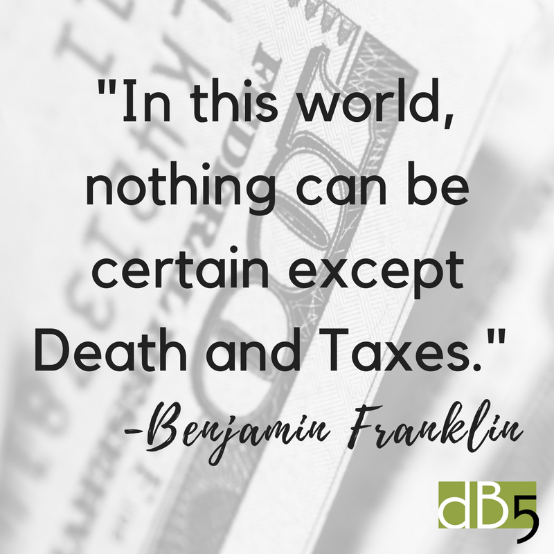 """Done By 5, Benjamin Franklin Quote, """"In this world nothing can be certain except Death and Taxes."""". Blog, Virtual Assistant, Small Business, San Francisco Bay Area."""