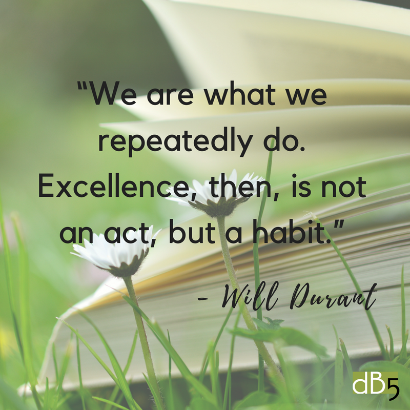 "Done By 5 Quote ""We are what we repeatedly do. Excellence, then, is not an act, but a habit."" Will Durant. Virtual assistants small business. San Francisco Bay Area"
