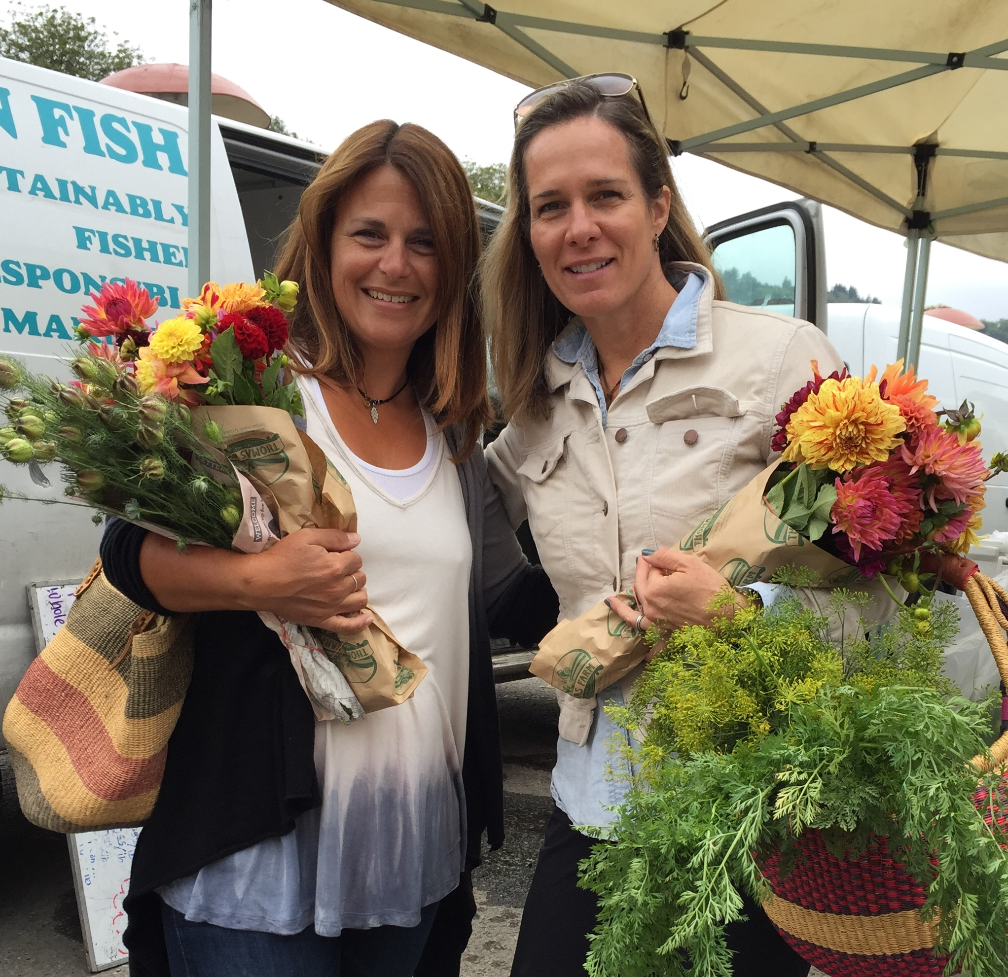 Neiley & Jen with Market Flowers
