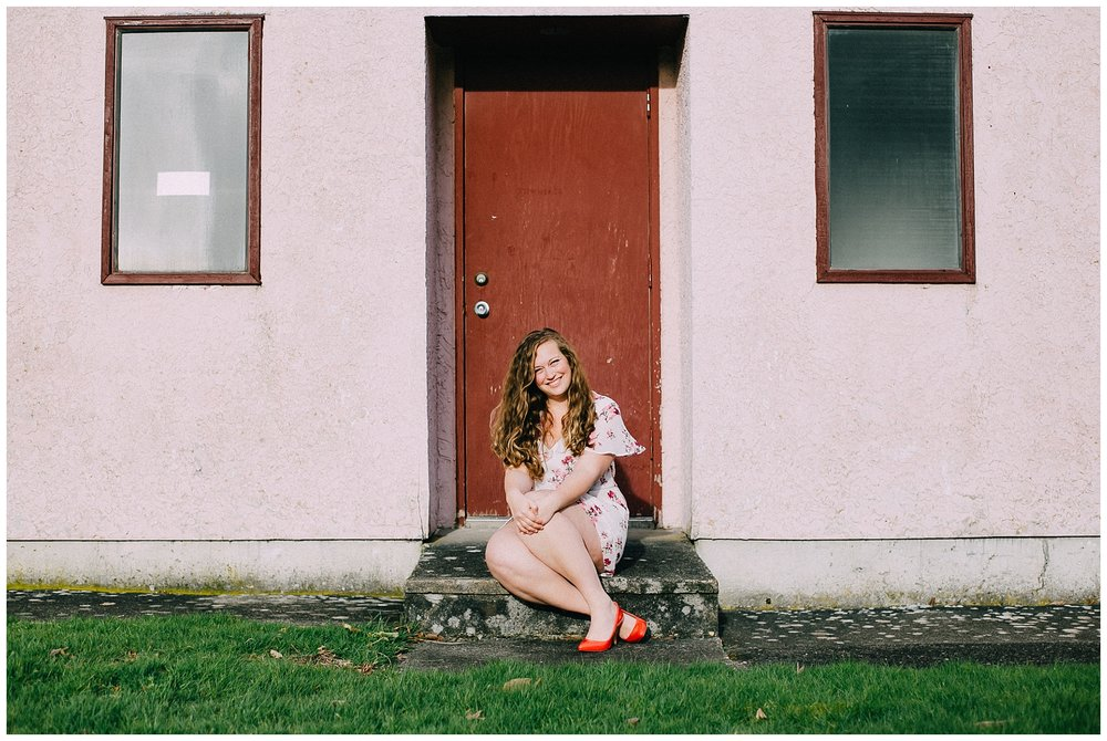 5 p.m.: Deanne and this amazing pink wall, Downtown Chilliwack.