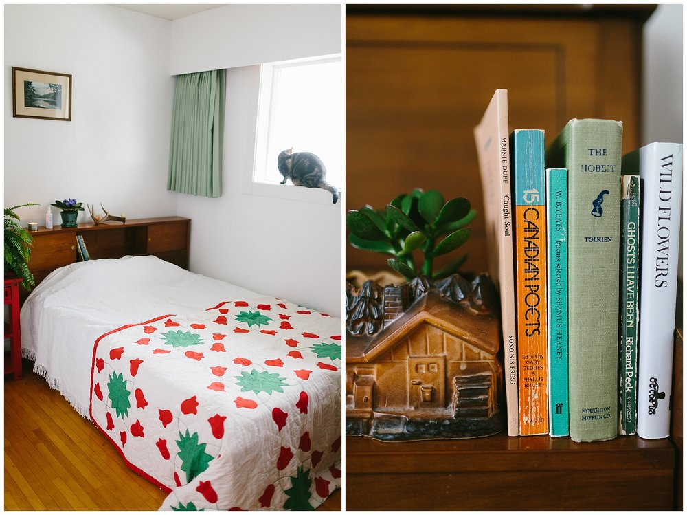 Some guest room books, and a cute little house planter from Spruce Collective, vintage quilt from Circa Vintage, and that white bedspread is the very same chenille cover that sat on my Nan's guest room bed.