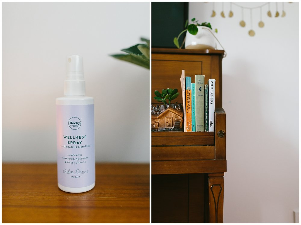 Rocky Mountain Soap Company wellness spray (this stuff is delightful). The piano has nowhere else to live, so it's serving as a little bookshelf/tv stand for now.
