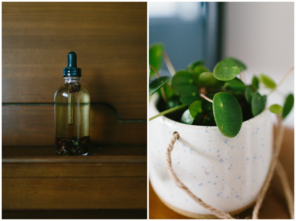 Jack and Audrey's lovely body oil bought at Pick Eco Refills downtown, and a Minter Gardens pilea.