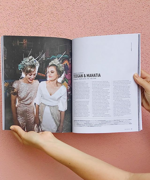 We will never get sick of looking at these babes at their killer midnight wedding, located in the latest issue of @hellomaymagazine 🌈 dressed in @gingerandgoldbridal of course ⭐️ other amazing vendors from this wedding @christianmarcphotography @gooddayrentals_vintage  @lovekittypimms @goodgraceandhumour @fatandskinnycatering @lunar_red_films @ferdydurkebar @thealtarelectric @notelmelbourne @katemakeupart @fidelandsarah #realbrides #melbournewedding #samesexwedding