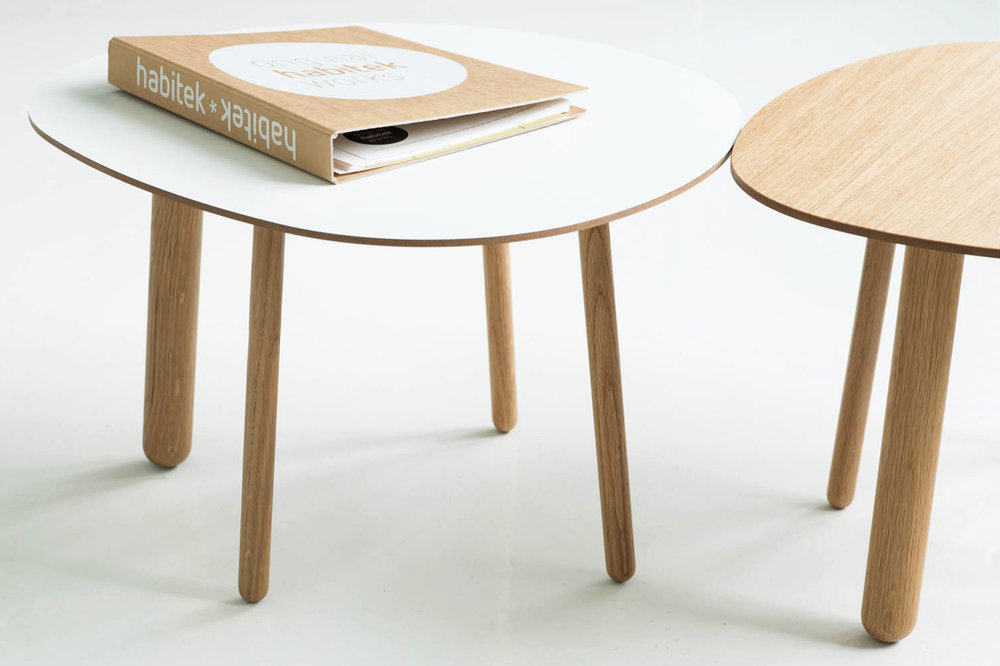 Morris coffee tables in white and natural oak