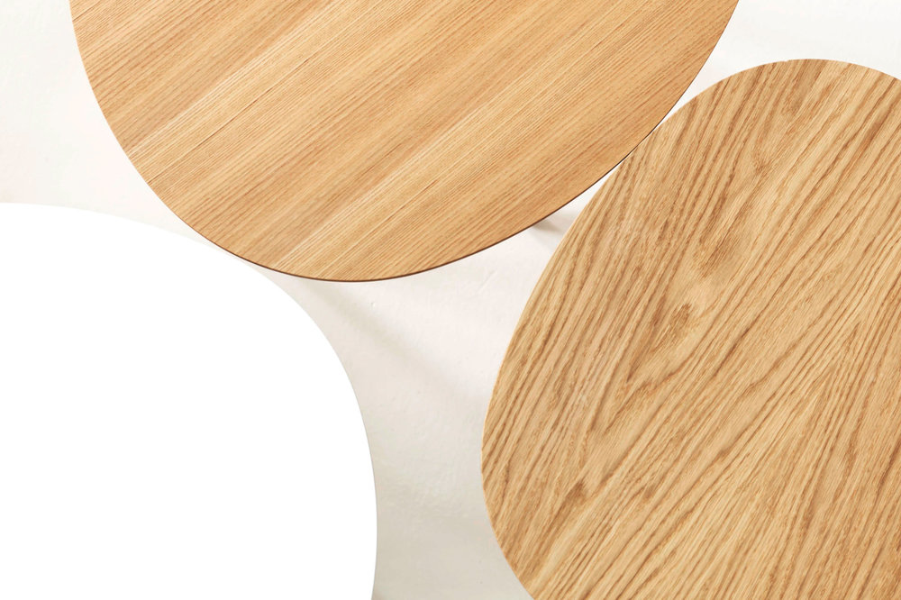 Morris coffee tables in white and oak