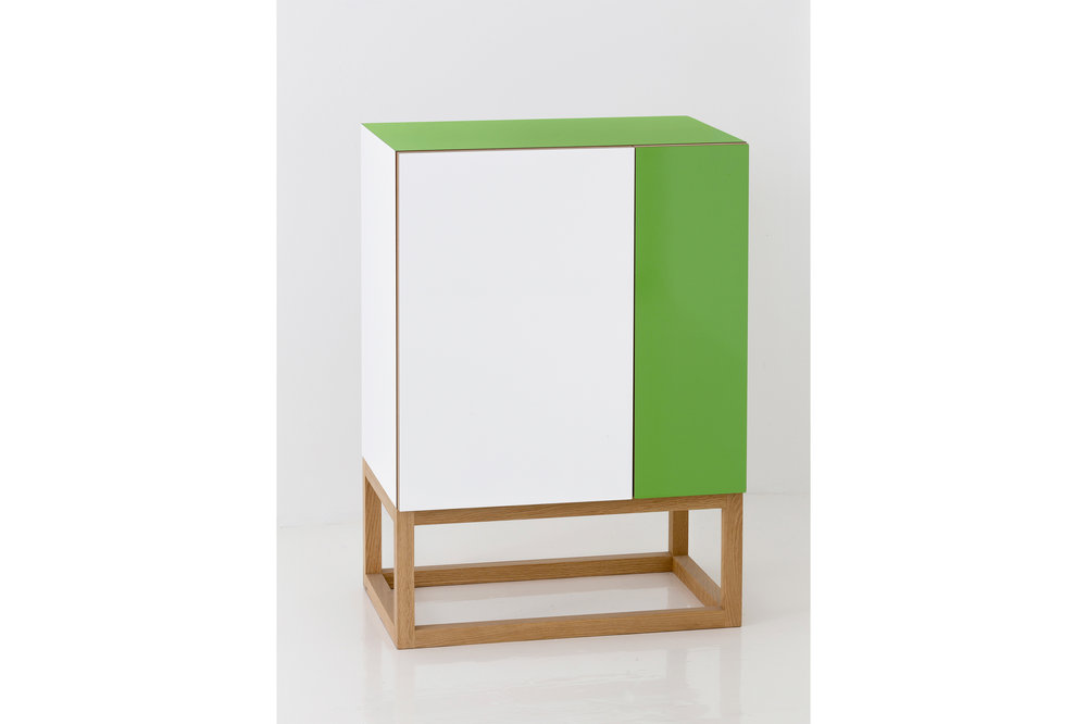 Habitek Stripe cabinet in white and green