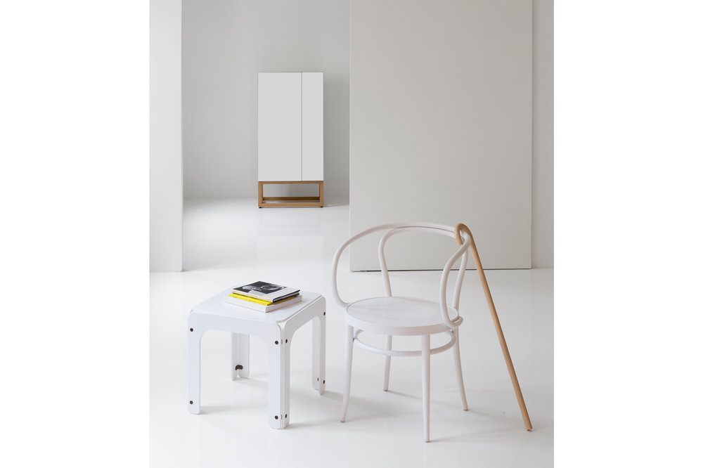 Habitek Stripe cabinet and Vanikka table in white