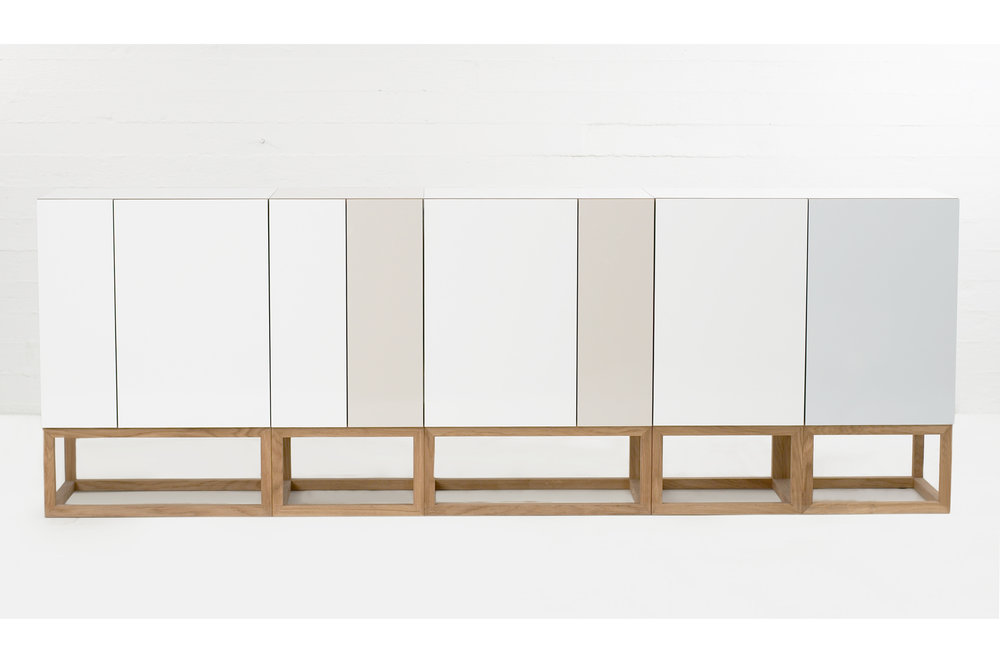 Habitek stipe cabinet in white, beige and lagoon blue