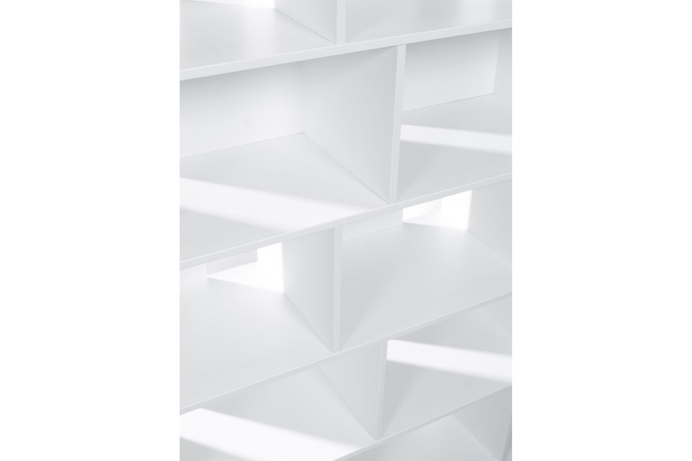 Closeup of Habitek Samarkand bookcase in white
