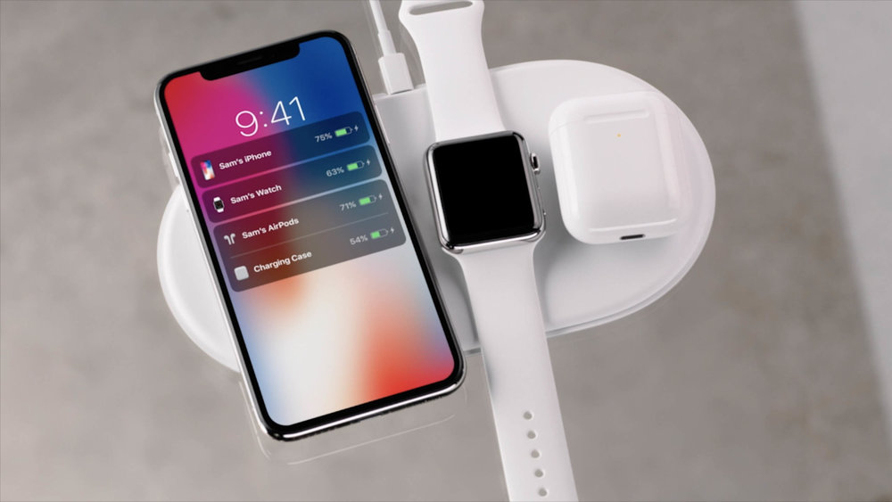 iPhone X, Apple Watch Series 3 and AirPods on AirPower Charging Pad