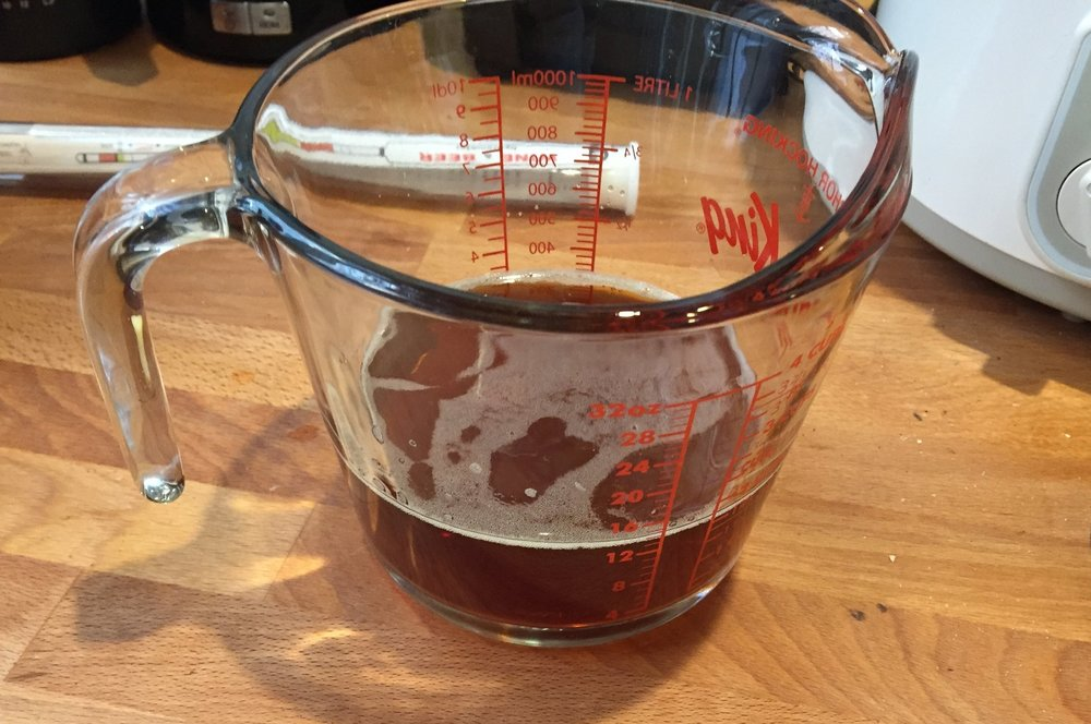 One important note before you begin is that you want to make sure that the beer is completely FLAT. The carbon dioxide doesn't do well with the chemical reaction involved and you don't want bubbly soap since we're going for more of a bar soap than a Mr. Bubbles Bubblebath. Pour your beer (12 oz or 300 mL) into some glassware and let sit while you get everything else ready. You can also stir it up for several minutes to speed up that process.