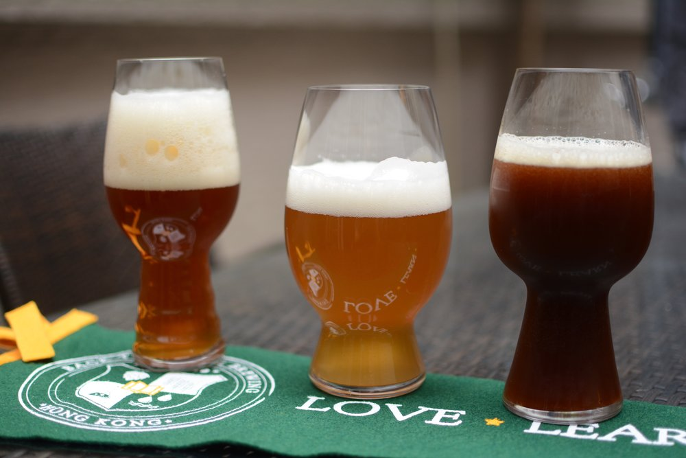Thanksgiving Brews. From left to right: Pumpkin Saison, Cranberry Wheat, Smoked Brown Ale