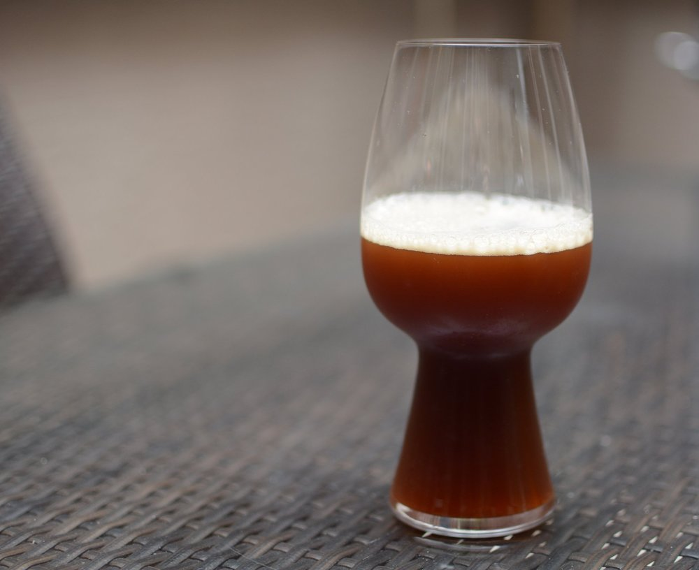 Smoked Brown Ale - murky appearance evident of failing to use clarifying agent; need to take a mulligan on this batch; drinks just fine but could look nicer with increased head retention and more smoked flavor