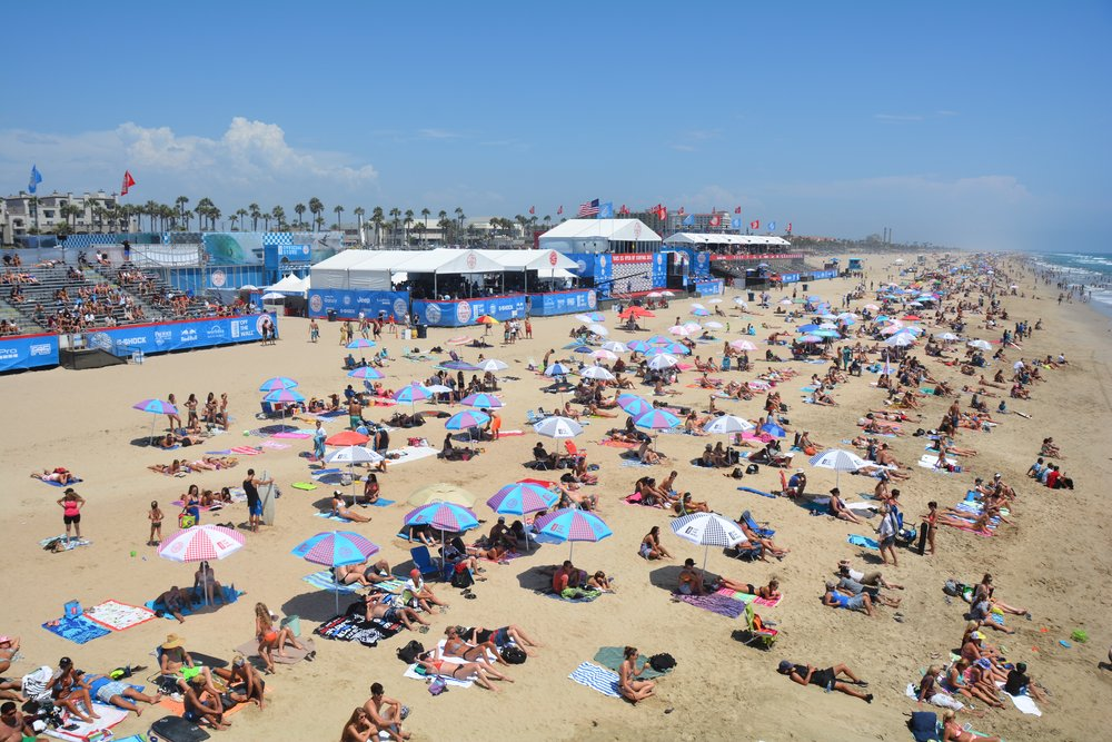 Huntington Beach is home of the US Open Surfing competition which takes place in July.