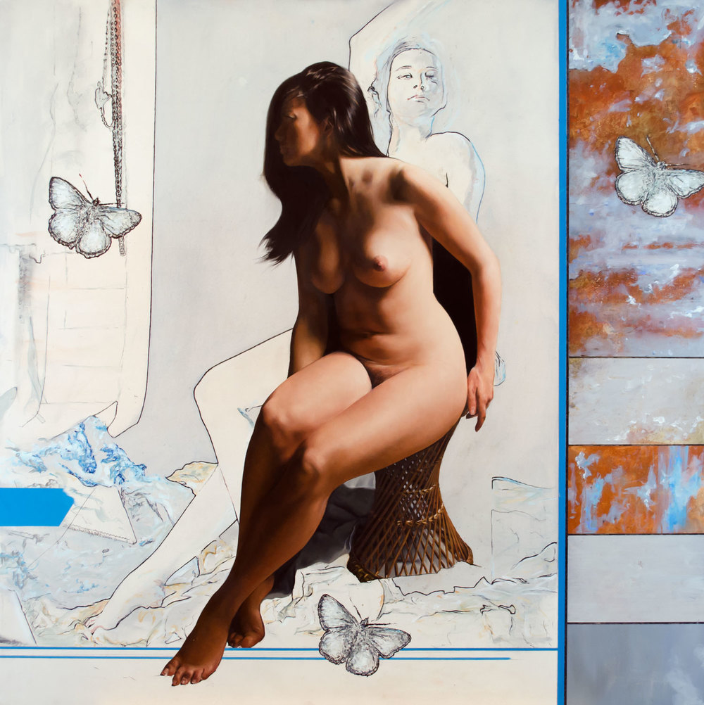 Nude With Rust and Butterflies, oil on panel, 80x80cm