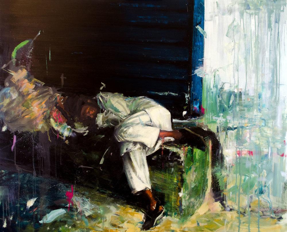 Sleeping Market Boy, oil on panel, 82x101cm