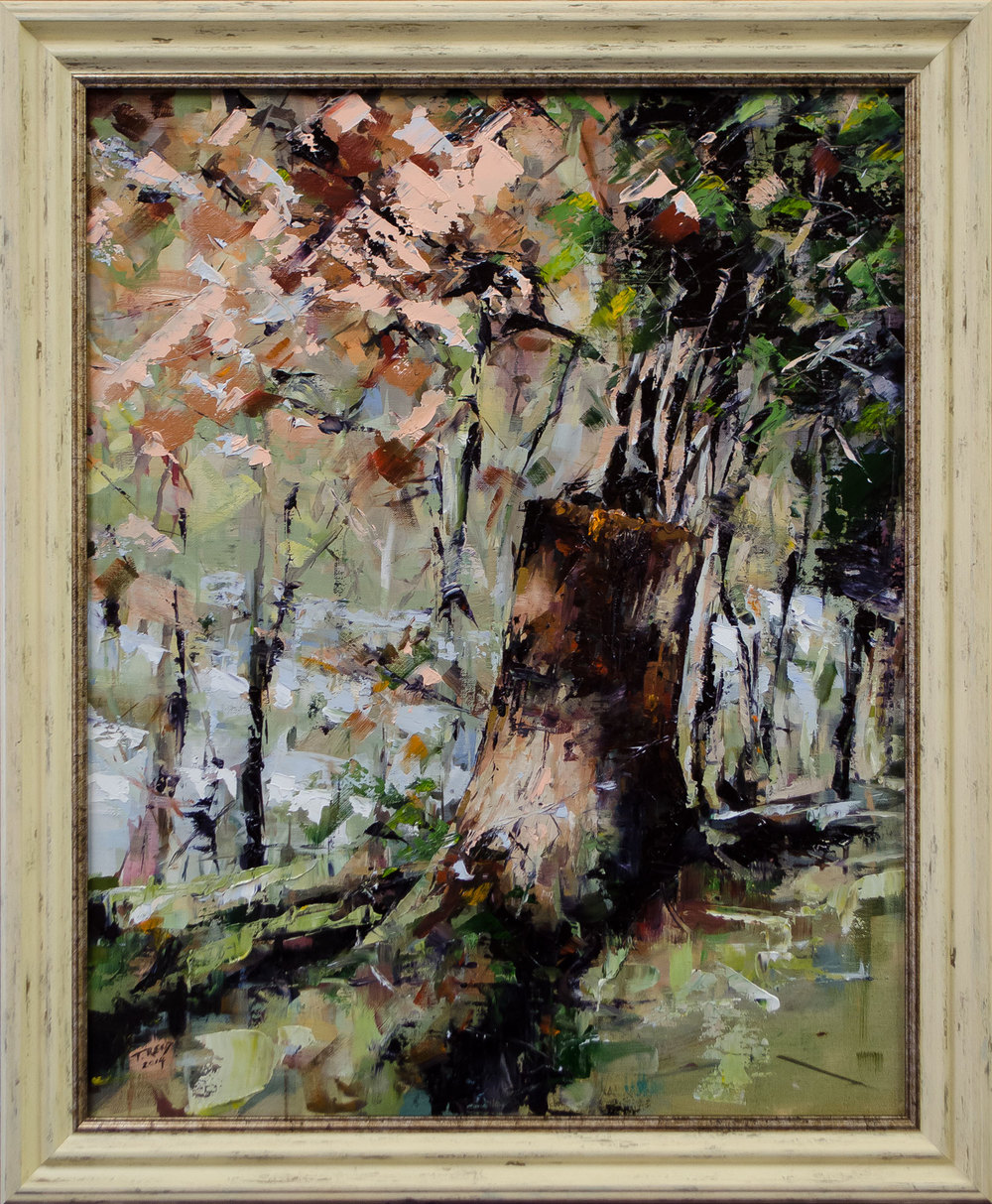 Tree Stump, oil on panel,