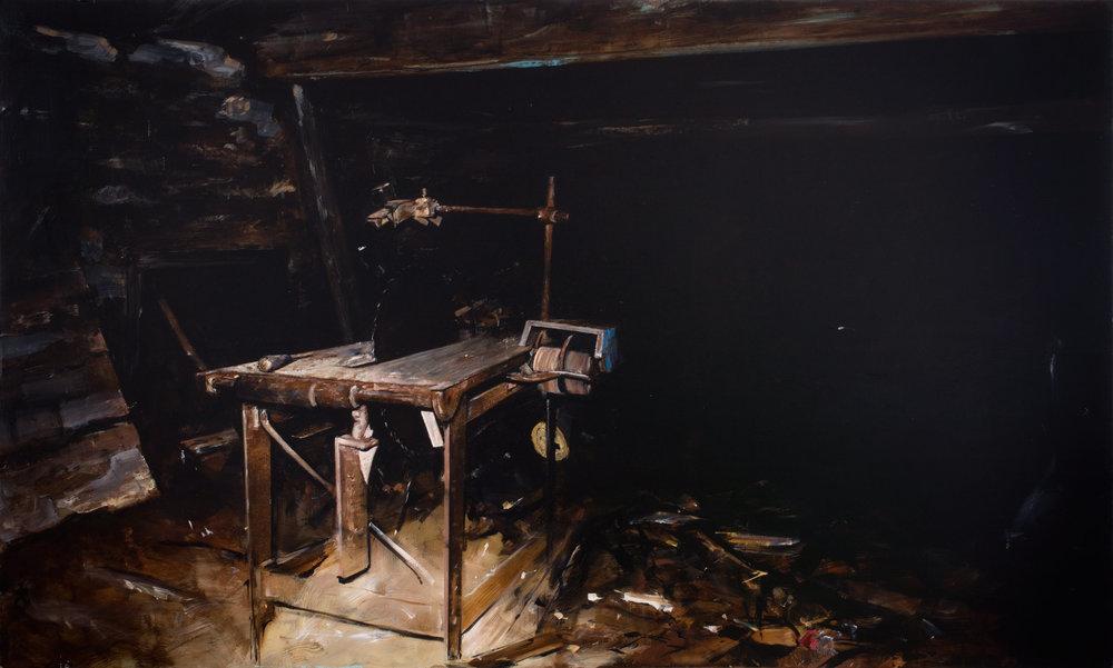 Saw, oil on panel, 2017
